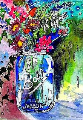 Painting - Jar And Flowers Two by Esther Woods