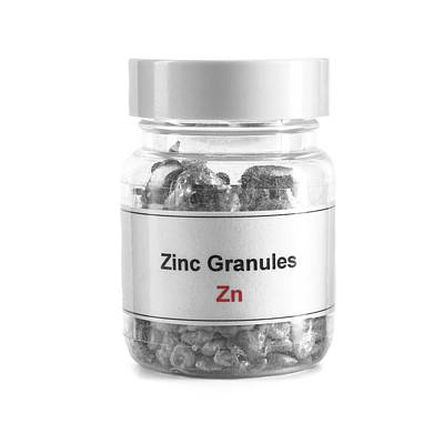 Sacrificial Photograph - Jar Containing Zinc Granules by Science Photo Library