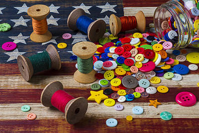 Jar Of Buttons And Spools Of Thread Art Print by Garry Gay
