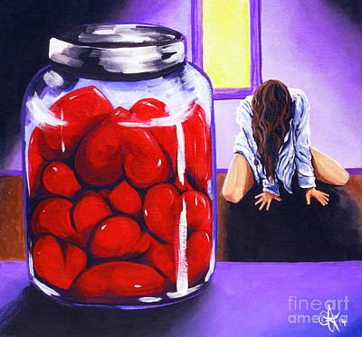 Depression Painting - Jar Of Hearts by Jackie Carpenter
