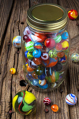 Jar Of Marbles With Shooter Art Print by Garry Gay