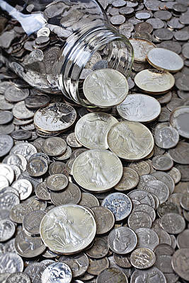 Coins Photograph - Jar Spilling Silver Coins by Garry Gay