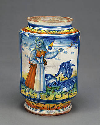Jar With A Woman And Geese Unknown Faenza Art Print