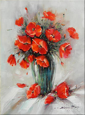 Handmade Glass Flower Painting - Jar With Poppies by Petrica Sincu
