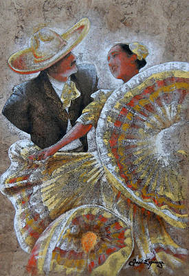 Handmade Painting - Jarabe Tapatio Dance by J- J- Espinoza