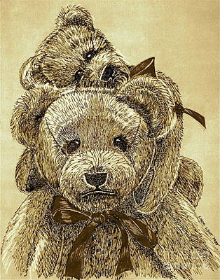 Jared's Bears Sepia Art Print