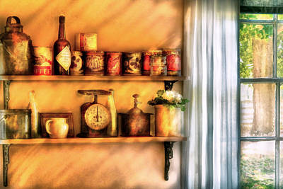 Jars - Kitchen Shelves Art Print by Mike Savad