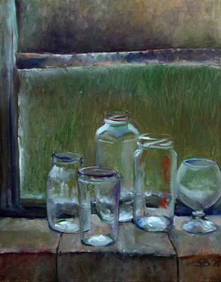 Jars On Summer Windowsil Art Print