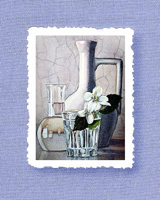 Room Decorating Painting - Jasmine Flowers Bouquet On Blue Canvas by Irina Sztukowski