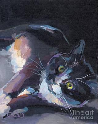 Tuxedo Cat Painting - Jasmine by Kimberly Santini