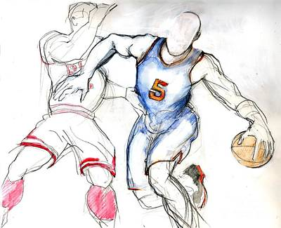 Drawing - Jason Kidd by Carolyn Weltman