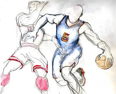 Drawing - Jason Kidd by Carolyn Weltman