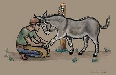 Donkey Digital Art - Jasper Warms Up To The Farrier by Dawn Senior-Trask