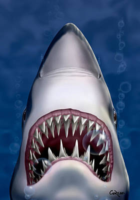 Jaws Great White Shark Art Art Print by Walt Curlee