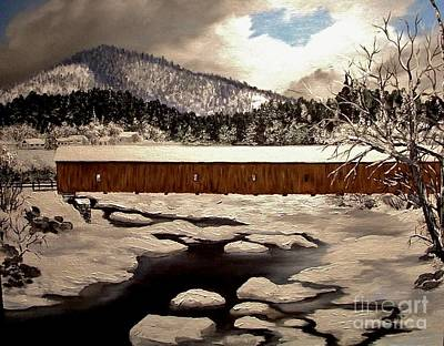 Covered Bridge Painting - Jay Covered Bridge by Peggy Miller