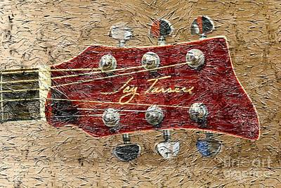 Jay Turser Guitar Head - Red Guitar - Digital Painting Art Print by Barbara Griffin