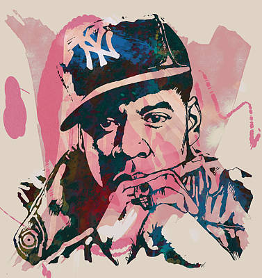 Biggie Drawing - Jay-z Stylised Etching Pop Art Poster by Kim Wang