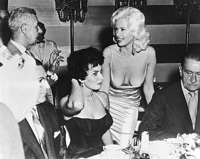 Sophia Photograph - Jayne Mansfield, Sophia Loren by Underwood Archives