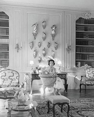Sconce Photograph - Jayne Wrightsman In Her Library In Palm Beach by Horst P. Horst