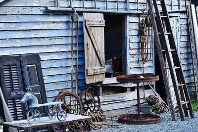 Photograph - Blue Barn Entrance At Jaynes Reliable Antiques And Vintage by Kim Bemis