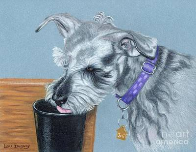 Drawing - Jazi's Morning Coffee by Lora Duguay