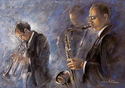 Saxophone Drawing - Jazz 01 by Miki De Goodaboom