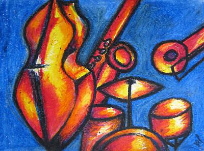 Drum Kit Painting - Jazz by Anna Yanova
