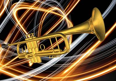 Digital Art - Jazz Art Trumpet by Louis Ferreira