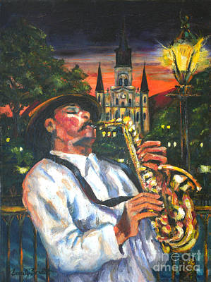 Painting - Jazz By Street Lamp by Beverly Boulet