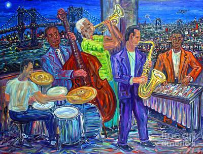 Jazz Painting - Jazz By The Bridge by Arthur Robins
