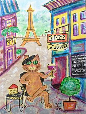 Champs Elysees Painting - Jazz Cat by Diane Pape