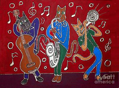 Painting - Jazz Cat Trio by Cynthia Snyder