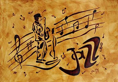 On Paper Painting - Jazz Coffee Painting by Georgeta  Blanaru