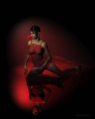 Digital Art - Jazz Dancer In Red 1 by Judi Suni Hall
