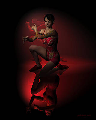 Digital Art - Jazz Dancer In Red 2 by Judi Suni Hall