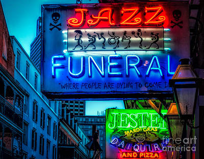 Jazz Funeral And Jester On Bourbon St. Art Print