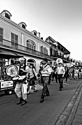 Funeral Procession Photograph - Jazz Funeral Bw by Steve Harrington