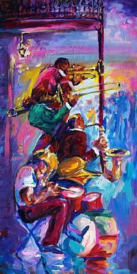 Jazz In The Glow Art Print by Saundra Bolen Samuel
