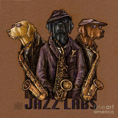Chocolate Labrador Retriever Mixed Media - Jazz Labs by Kathleen Harte Gilsenan