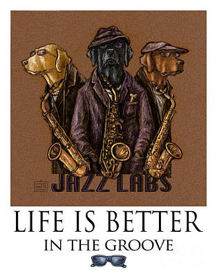 Chocolate Labrador Retriever Mixed Media - Jazz Labs - Labrador Retrievers Playing Saxophone by Kathleen Harte Gilsenan