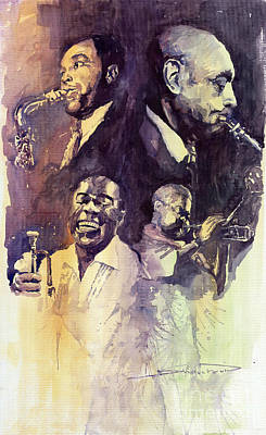 Painting - Jazz Legends Parker Gillespie Armstrong  by Yuriy  Shevchuk