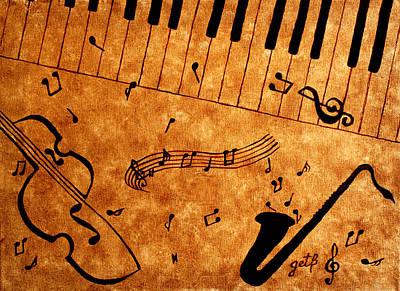 Coffee Jazz Music Abstract Painting - Jazz Music Coffee Painting by Georgeta  Blanaru