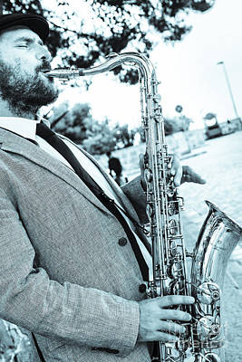 Saxophonist Photograph - Jazz Musician Busker Playing Saxophone by Peter Noyce