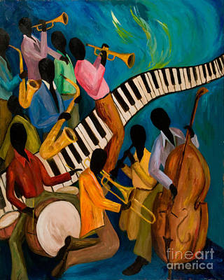 Contemporary Black Art Painting - Jazz On Fire by Larry Martin