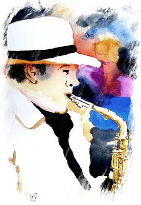 Art Print featuring the painting Jazz Player by Steven Ponsford