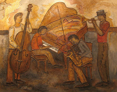 Painting - Jazz Quartet by Anita Burgermeister