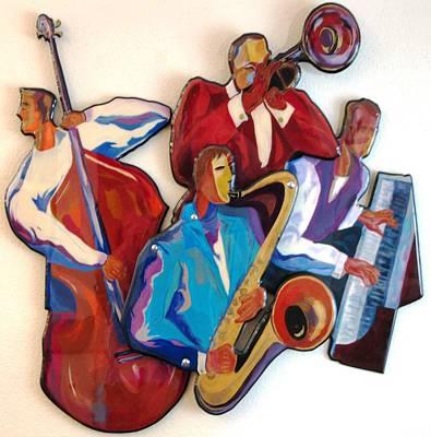 Mixed Media - Jazz Quartet Iv by Bill Manson