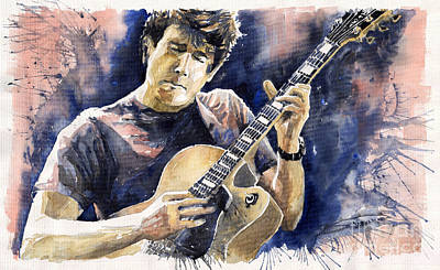 Jazz Legends Wall Art - Painting - Jazz Rock John Mayer 06 by Yuriy Shevchuk