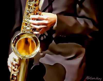 Jazz Sax Player Art Print by Alexandra Jordankova