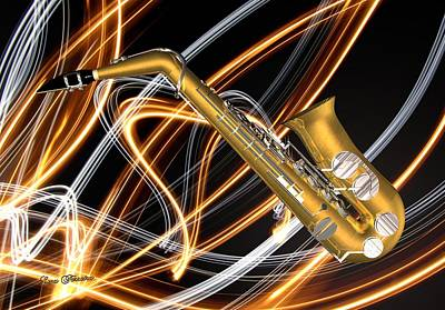 Digital Art - Jazz Saxaphone  by Louis Ferreira